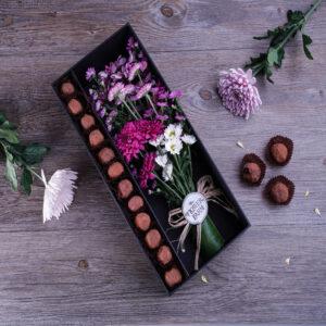 Dark Chocolate Truffles and Chrysanthemum Bouquet